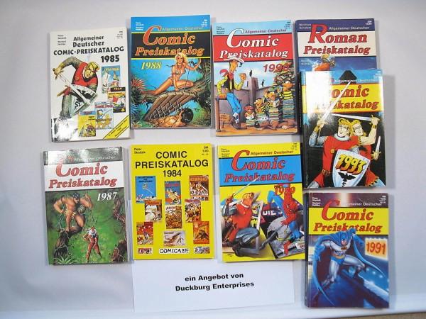 9x Comic Preiskataloge ab 1984 Hethke Verlag 45494-7 Sigurd Nick Falk Micky
