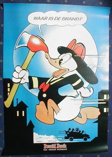 Poster Donald als Feuerwehrmann schönes Barks Motiv
