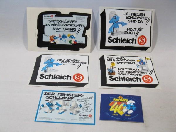 6 Schlumpf Werbe Aufkleber Schleich smurf promo sticker schtroumpf puffi 60808