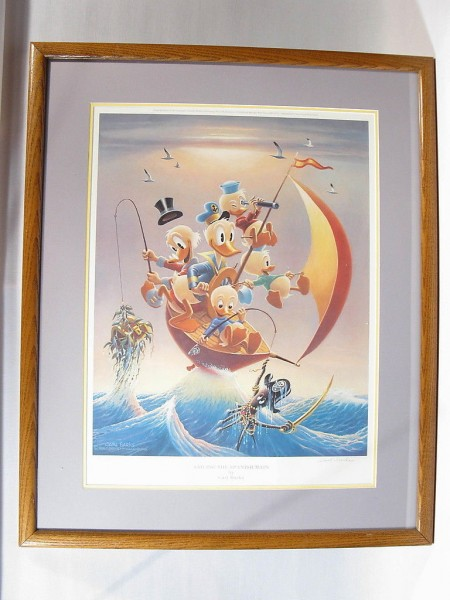 """Barks Lithographie """"Sailing the Spanish Main"""" signiert"""