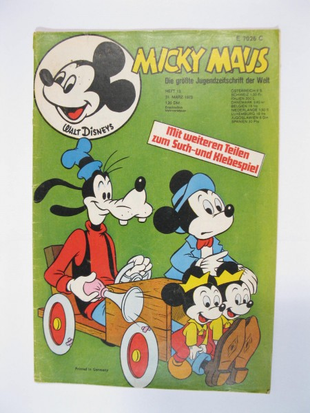 Micky Maus 1973/13 Originalheft vom 31.3.1973 in Z (2-3 oS) 51662